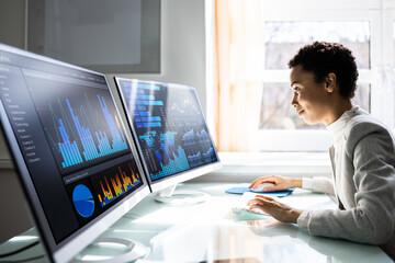 Fototapeta Analyst Women Looking At KPI Data obraz