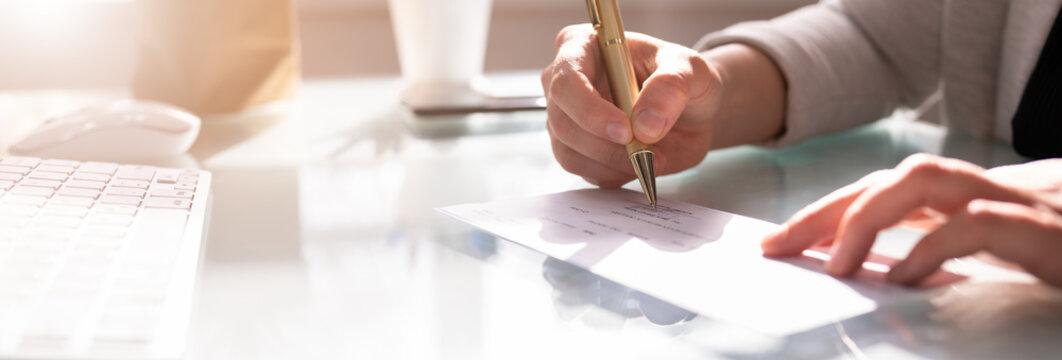 Insurance Paycheck. Payroll Check