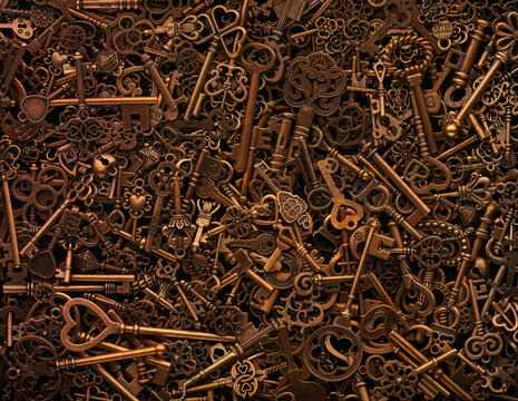 Pile of vintage bronze skeleton keys.