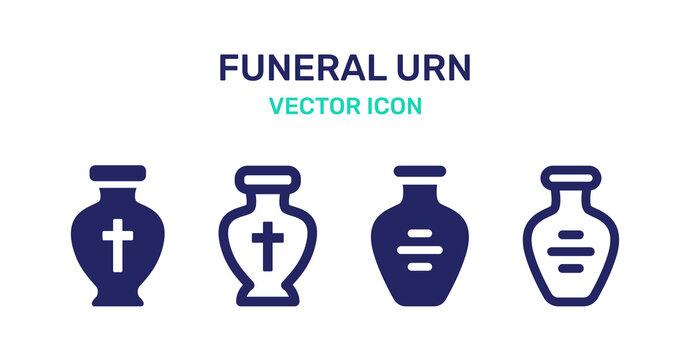 Funeral cremation urns icon vector set illustration