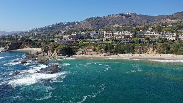A beautiful afternoon in Orange County, California with a view of Montage Resort in Laguna Beach on a bright and sunny day.