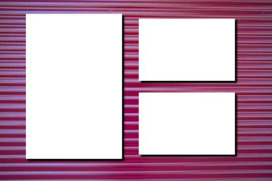 white three blank paper sheet with shadow on red pink wooden plank panel shutter desk background