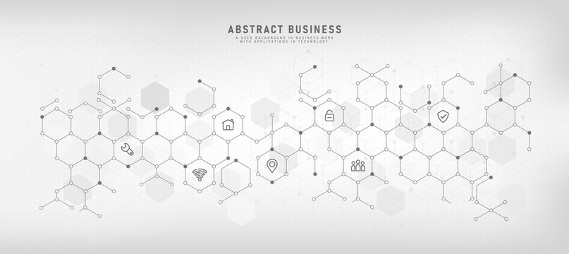 Technology background with flat icons and business symbols abstract concept and concept for internet of things wifi network communication vector illustration