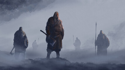 Fototapeta Vikings stand in the fog with axes, spears and shields, ready for battle. 2D illustration