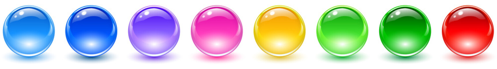 Obraz Set of colored spheres, shiny and glossy 3D colorful glass balls collection, multicolored vector illustration. - fototapety do salonu