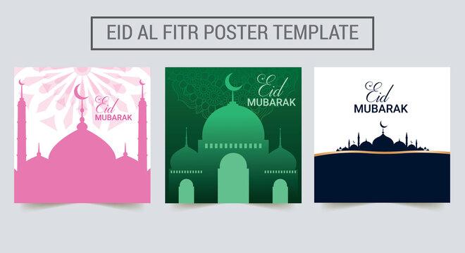 Set of Ramadan Kareem, Eid Mubarak, Eid Al Fitr greeting cards with the moon, stars, mosque. Islamic poster, banner, flyer, invitation. Vector Illustration.