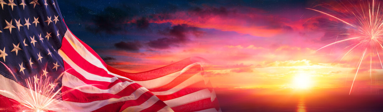 American Flags At Sunset With Fireworks - Abstract Defocused Composition
