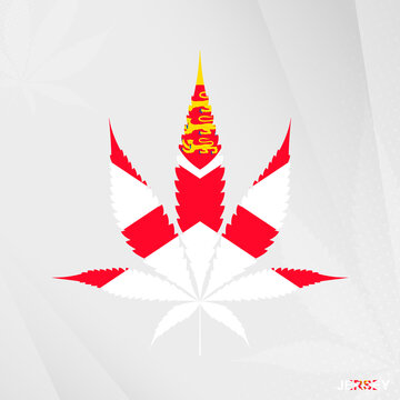 Flag of Jersey in Marijuana leaf shape. The concept of legalization Cannabis in Jersey.