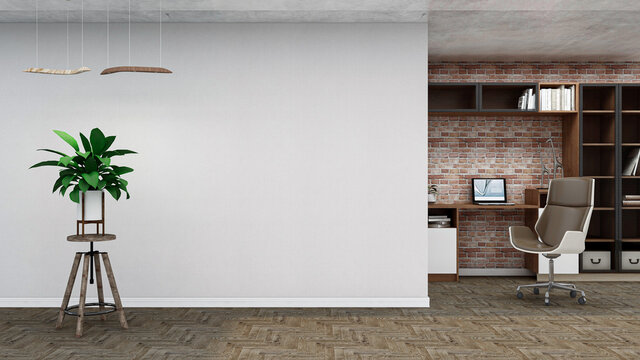Industrial empty room, photorealistic 3D Illustration of the interior, suitable for using in video conference and as a zoom background.