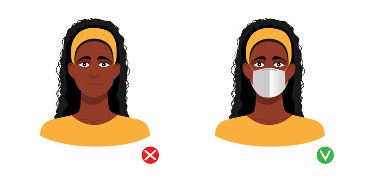 Mask required. Afro american woman wth and without  medical mask isolated on white background Vector illustration.