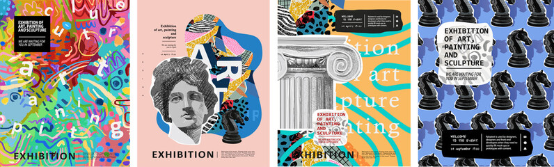 Art posters for the exhibition of painting, sculpture and music. Vector illustration of abstract background, roman column, greek sculpture, chess horse pattern for magazine or cover - fototapety na wymiar