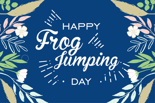 Happy Frog Jumping Day, Holiday concept. Template for background, banner, card, poster, t-shirt with text inscription, vector eps.