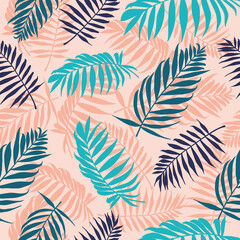 Fototapeta Palm leaves pattern. Tropical tree leaf, floral wallpaper repeated design. Summer jungle graphic seamless vector organic palms texture. Foliage and vegetation for fabric, wrapping paper obraz