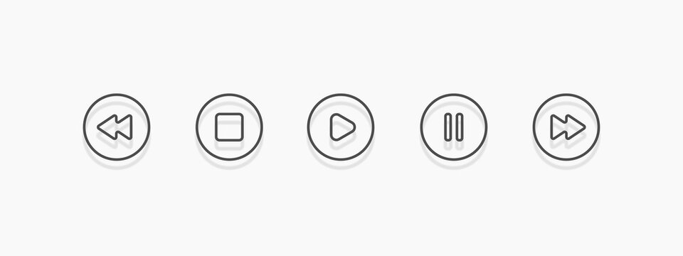 Media player icon set in trendy flat style, illustration