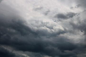 Obraz Dark sky and dramatic black cloud before rain - fototapety do salonu
