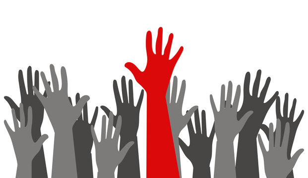 Silhouettes of hands of guys and girls of different nationalities and religions. International Youth Day. Voting in elections. Poster Struggle for Equal Rights. Gray and red.
