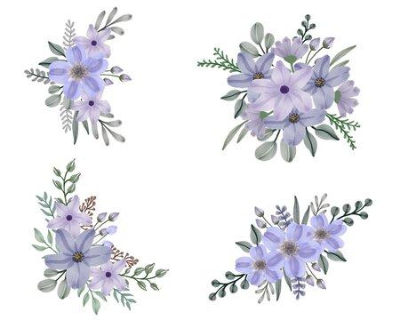 arrangement of watercolor floral frame bouquets of purple flowers  vector design for wedding invitation