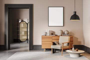 Fototapeta Light living room interior with armchair and drawer, poster mock up obraz