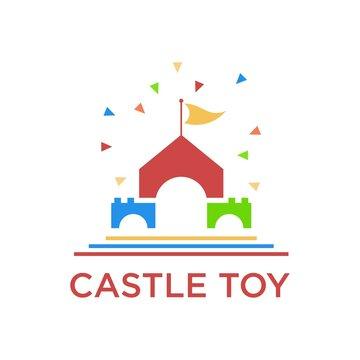 castle toy colorful logo design illustration