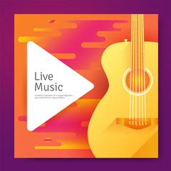 Fototapeta Live music poster with yellow guitar obraz