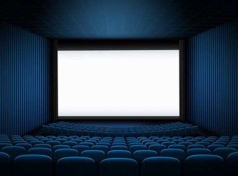 cinema hall with big screen and blue seats 3d illustration