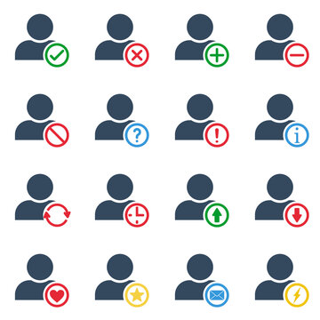one person with many different colorful actions, vector outline icons set