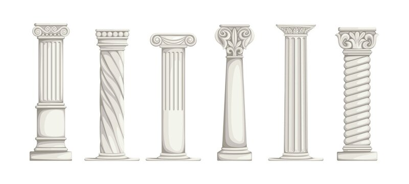 Roman pillars. White ancient Greek marble columns. Architecture elements set. Part of building with carved stone decorations. Antique colonnade. Vector types of ionic constructions