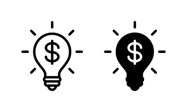 Light bulb with dollar icon vector