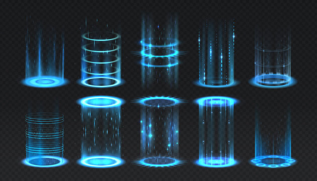 Realistic portal. Level up and teleportation process game effect, futuristic lighting and bright wrap aura. Glowing neon energy circles set. Vector vertical teleport with luminous beams