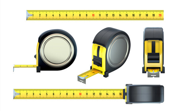 Measurement tape. Realistic construction ruler, 3D hand builder measuring instruments set. View from various sides on centimeter scale bands and black reels. Vector metric counter tool