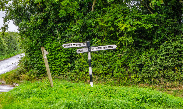 Sign post pointing to St Mary Bourne and Andover, Hampshire.