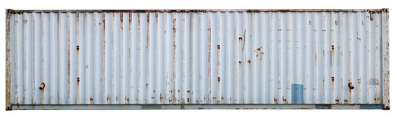 Wall of a steel gray old rusty sea cargo containe isolated