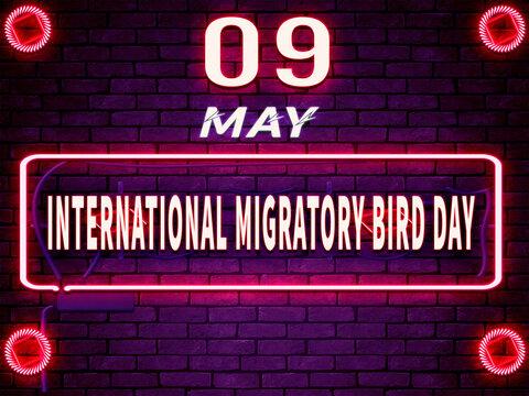 09 May, International Migratory Bird Day. Neon Text Effect on Bricks Background