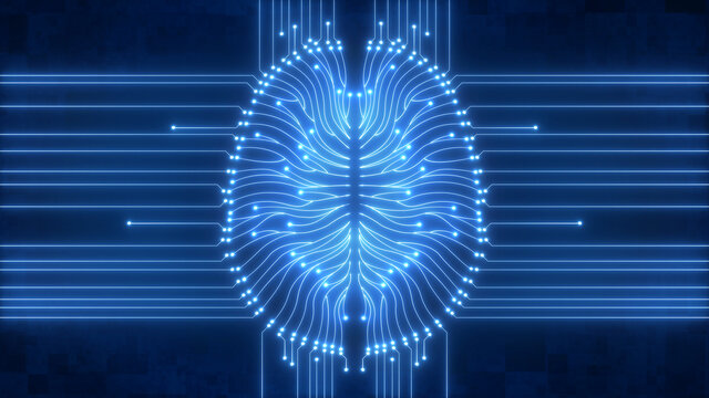 Wired up computer circuitry brain - glowing blue digital artificial intelligence
