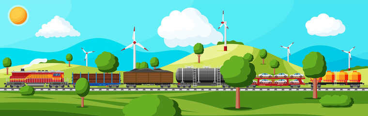 Train with cargo wagons, cisterns, tanks and cars. Railroad freight collection. Nature landscape with trees, hills, forest, wind turbine and clouds. Cargo rail transportation. Flat vector illustration