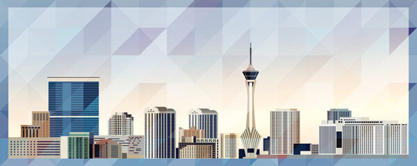 Las Vegas skyline vector colorful poster on beautiful triangular texture background - fototapety na wymiar