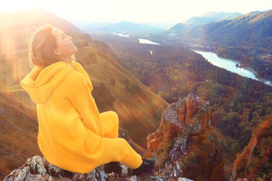 female meditation mountains, nature landscape summer