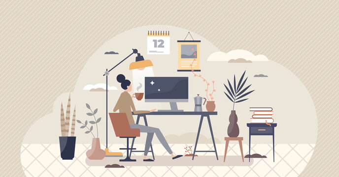 Home workplace and distant office in room as workspace tiny person concept. Isolation and distancing from company and work with remote workstation vector illustration. Freelance job process scene.