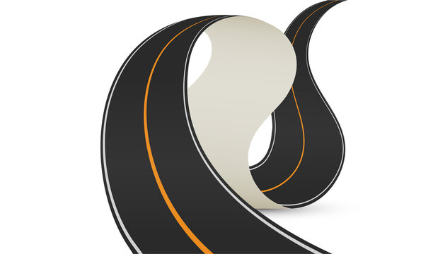 Curve road vector illustration on white background.