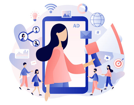 Advertising agency concept. Tiny woman with big megaphone in smartphone screen. Service advertisement, Digital marketing, SMM, Outdoor advertising. Modern flat cartoon style. Vector illustration