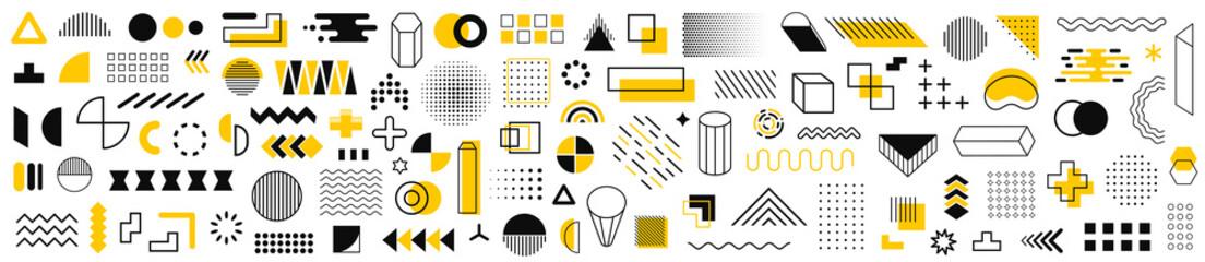 Set of 115 geometric shapes icons. Memphis design retro elements. Collection trendy halftone geometric shapes. Retro funky graphic, 90s trends designs and vintage print element collection