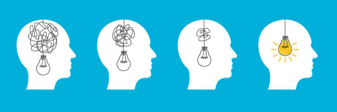 Humans head silhouette psycho therapy concept, light bulb idea and scribbles, brainstorming, therapist and patient, brain with tangled knot and order in man head, mental problem solving - vector
