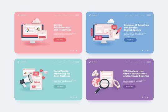 Set of web design templates. Vector illustration concepts of website or landing page design for SEO, digital marketing, social media, web design and development, system administrator.