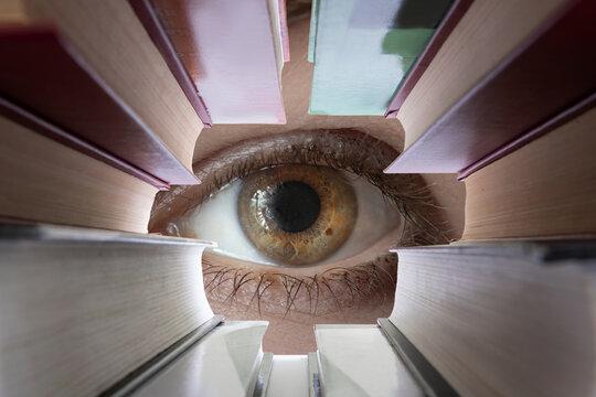 Eye looks through textbooks.