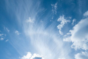 white feathered clouds in the blue sky, angel wing