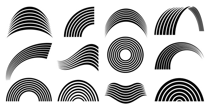 Monochrome black and white rainbow for coloring book for child. Rainbows vector flat symbols isolated on a white background. Spectral shapes.Circle, wave, and half of the mold