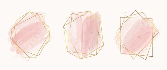 Luxury Gold invite frame design vector. Invitation design for wedding, VIP Invitation card, Image frame, wall art decoration. Water color frame design. vector illustration.