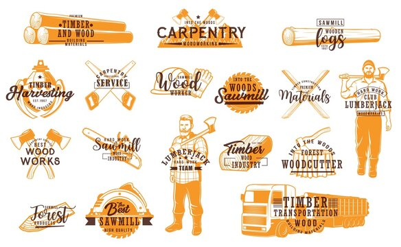 Lumberjack, carpentry service and working tools icons. Timber materials and wood logs transportation, woodcutter vector emblems. Lumberjack with ax, chainsaw, truck and sawmill, planks, machine claws