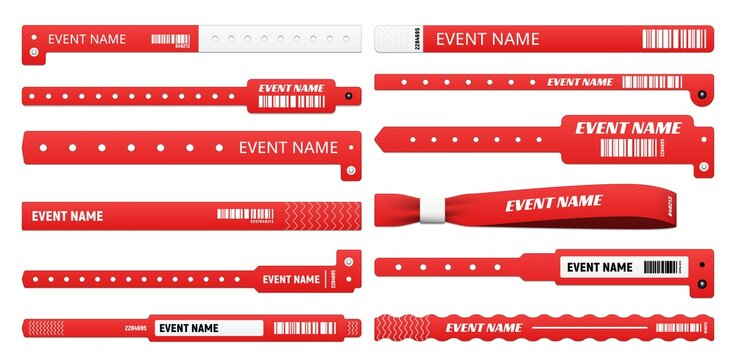 Event bracelet realistic mockups of isolated vector access wristbands, white and red plastic wrist bands and paper entrance tickets with bar codes. 3d event access bracelets for club party and concert