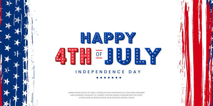 Happy 4th of July modern trendy design with 3d star lettering, typography design on vertical USA grunge flag background. Vector illustration.